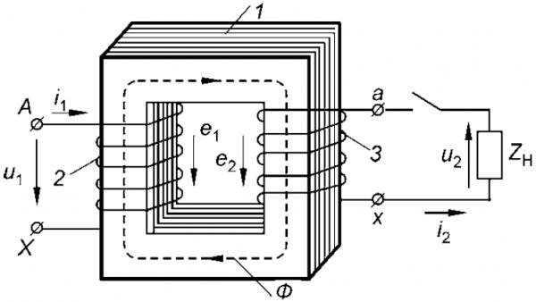 Схема индуктивных связей трансформатора