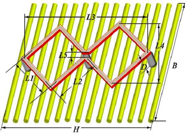 L1 – внешняя сторона квадрата; L2 – внутренняя сторона квадрата; L3 – длина рамки; L4 – ширина рамки; L5 – зазор для подключения; D – высота стоек; B – ширина экрана; H – длина экрана