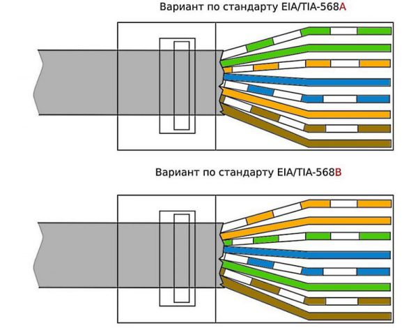 Стандарты разводки жилок витой пары для прямого обжима