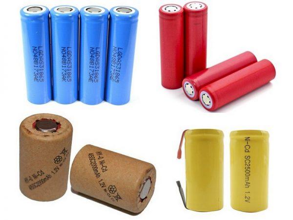 Различные виды элементов аккумуляторной батареи шуруповерта
