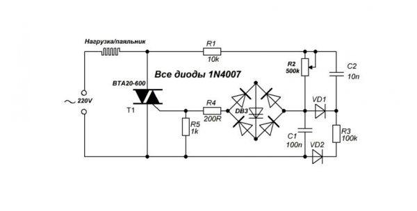 Схема регулятора мощности с симистором и диодным мостом