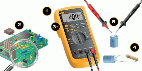 Проверка конденсатора мультиметром