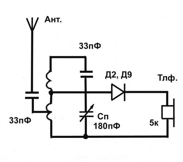 Схема детекторного приемника УКВ (FM)