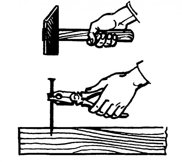 Безопасное забивание гвоздей при помощи пассатижей