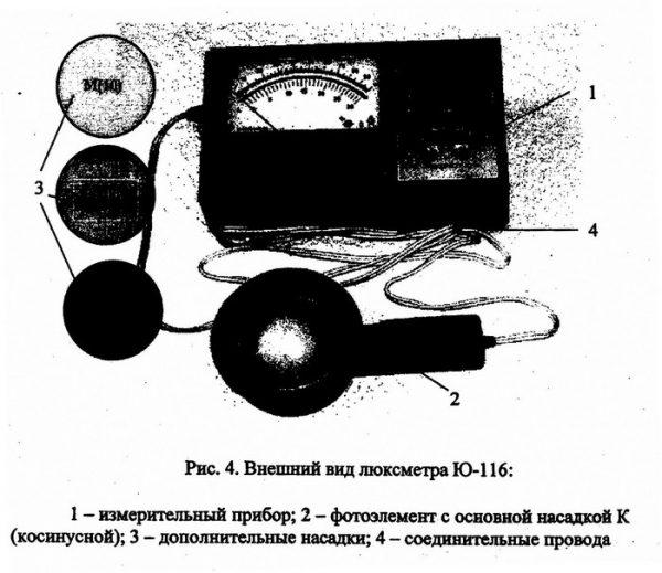 Комплектация и внешний вид люксметра Ю-116