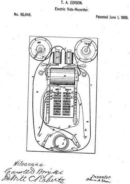 Схематическое изображение электрографического рекордера для голосований