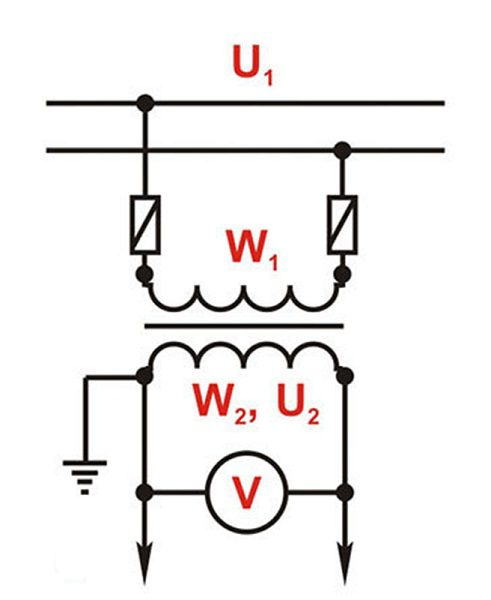Включение трансформатора напряжения