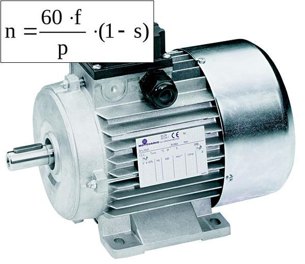 Формула расчёта скорости асинхронного двигателя