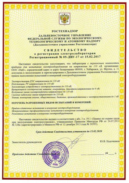 Регистрационное свидетельство электролаборатории