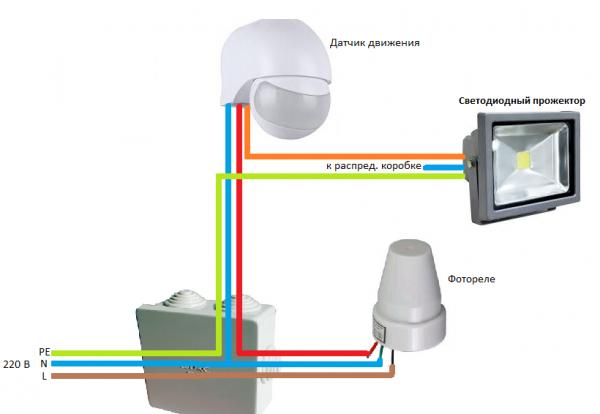 Схема включения прожектора