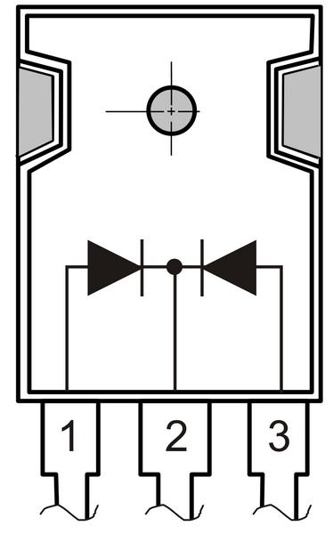 Внешний вид и обозначение сдвоенного диода Шоттки с общим катодом