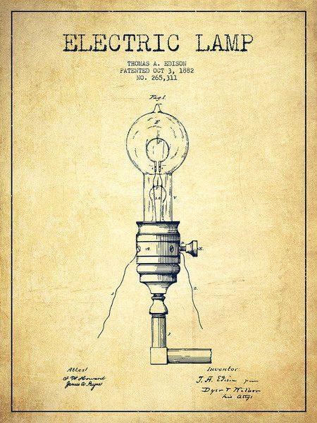 Схематическое изображения лампы накаливания с угольной нитью