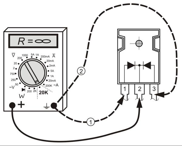 Схема проверки диодной сборки Шоттки посредством мультиметра