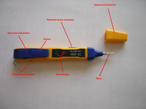 Конструкция и устройство простой отвертки-тестера