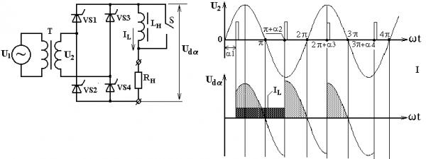 Схема тиристорного выпрямителя