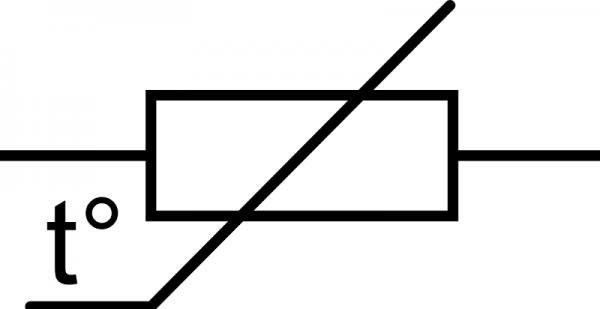 Условное изображение терморезистора на схеме