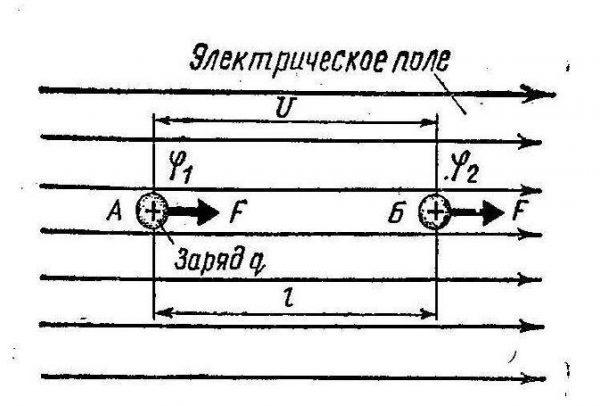 Поведение зарядов в электрическом поле