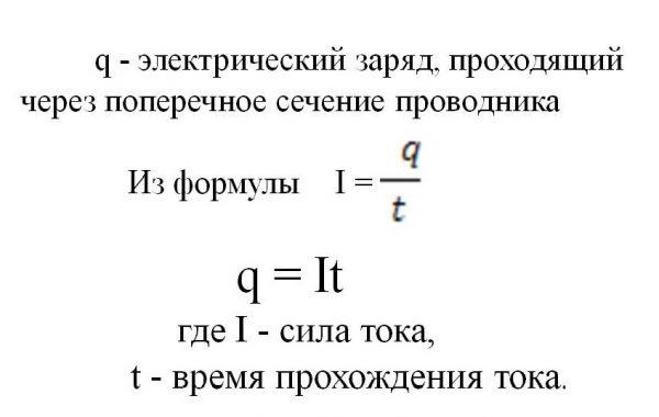 Формула нахождения электрического заряда