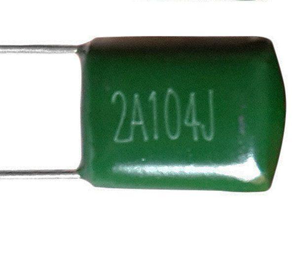 Конденсатор ёмкостью 0.1 +/- 5 % мкФ, напряжение – 100 вольт