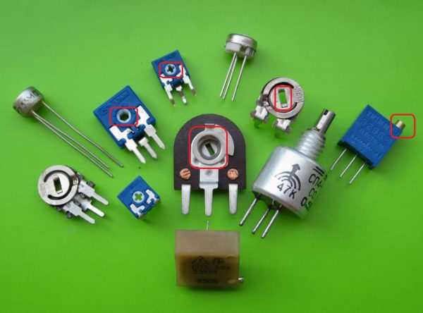 Виды переменных резисторов