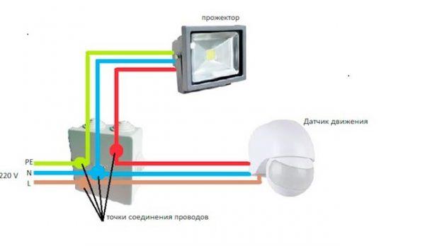 Схема для соединения прожектора, датчика и щитка
