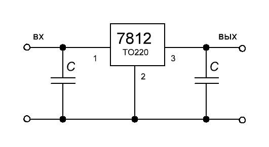 Включение микросхемы 7812