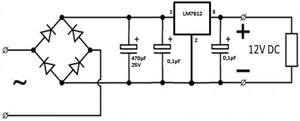 Схема БП со стабилитроном
