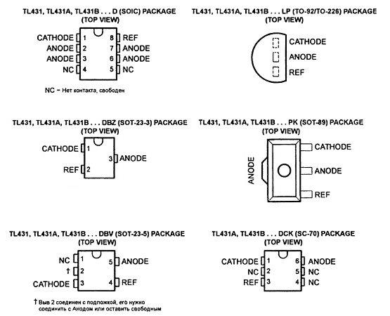 Разновидности распиновки tl431