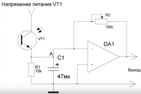 Схема датчика с фотоприемником