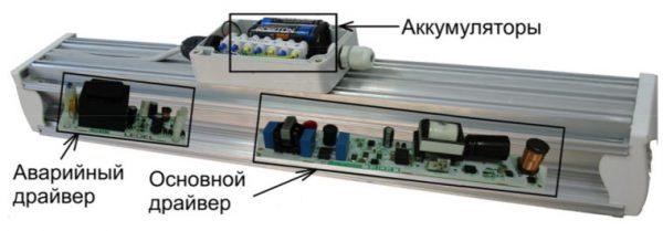 Конструкция аварийного LED-светильника