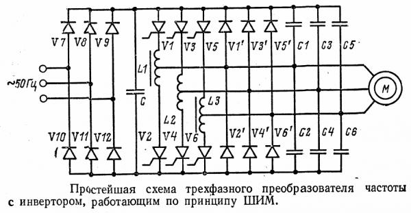 Схема инвертора на 12-ти тиристорах