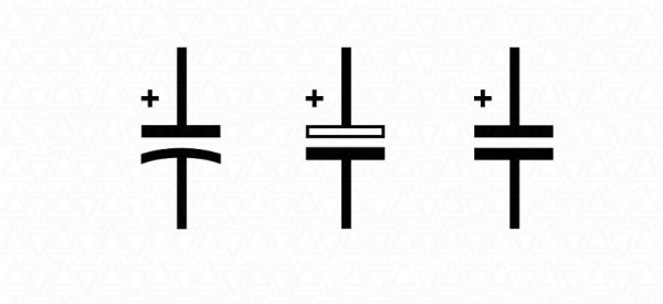 Обозначение поляризованных конденсаторов