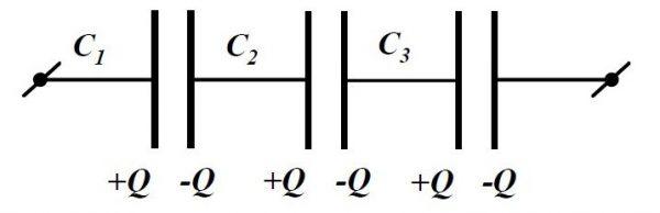 Последовательное соединение конденсаторных элементов