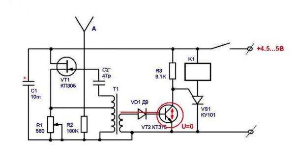Принципиальная схема микроволнового датчика движения