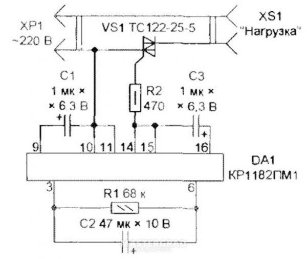 Электрическая схема для создания блока плавного пуска двигателя инструмента