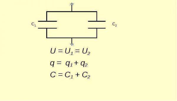 Параллельное соединение конденсаторных элементов