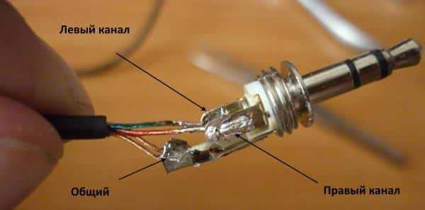 Припаивание проводов к штекеру
