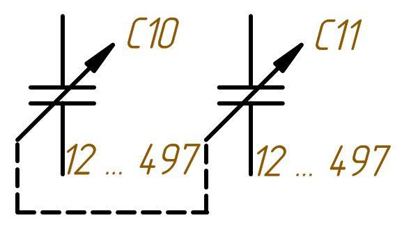 Обозначение переменных конденсаторов