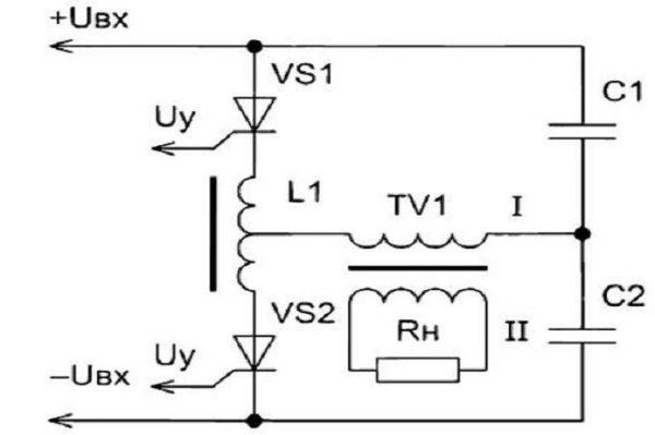 Общий вид полумостовой резонансной схемы