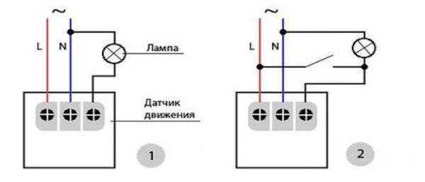 Схема подключения датчика к светильнику