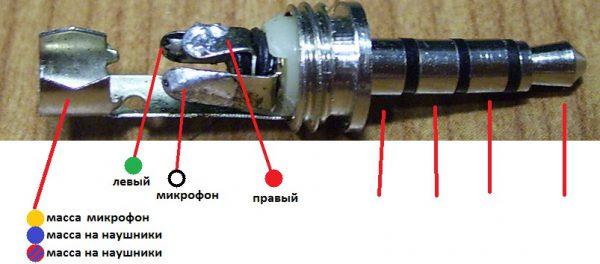 Схема пайки штекера наушников с микрофоном