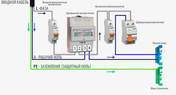 Схема подключения с однополюсным автоматом