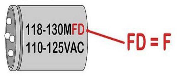 Маркировка больших по размерам конденсаторов