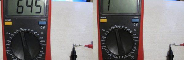 Проверка мультиметром исправного стабилитрона