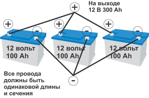 Схема параллельного соединения аккумуляторов