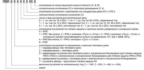 Расшифровка обозначения пускателей ПМЛ
