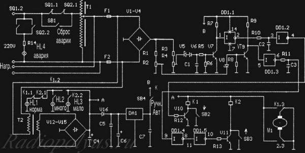 Принципиальная схема транзисторного СН