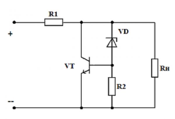 Схема стабилизатора параллельного типа