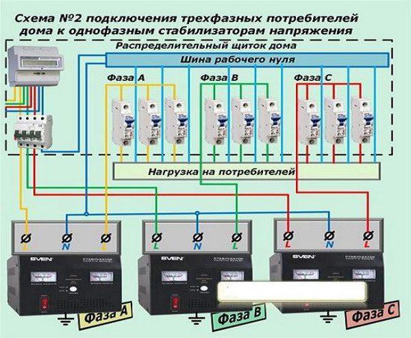 Схема включения стабилизаторов (вариант №2)