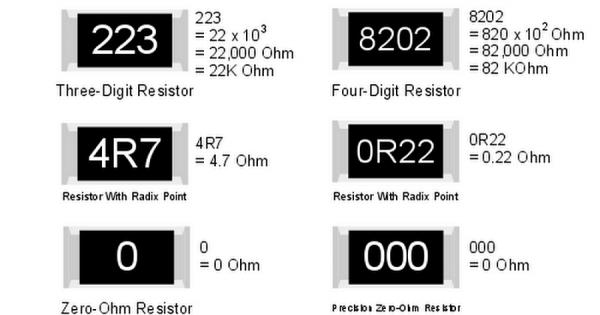 Внешний вид резисторов SMD